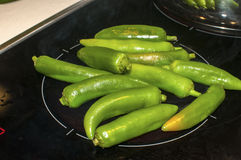 Chiles verdes en la placa caliente fotos de archivo libres de regalías