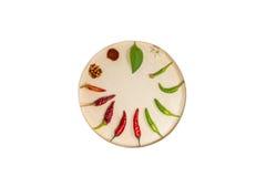 Chili в круглой деревянной коробке Стоковое Изображение RF