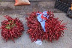 Chili в традиционном рынке в Shaxi Китае Стоковые Фото