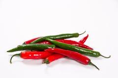 Chili красный и зеленый Стоковая Фотография RF