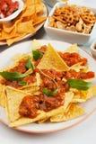 chili откалывает соус nachos мозоли Стоковая Фотография RF
