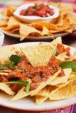 chili откалывает соус nachos мозоли Стоковые Изображения RF