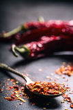 Chili Перцы Chili Несколько высушенных перцев чилей и задавленных перцы на старой ложке разлили вокруг ингридиенты мексиканские Стоковые Изображения RF