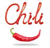 Chili слова написанный с кетчуп и накаленным докрасна естественным стручком перца chili Стоковое Изображение