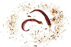 Chili, хлопья красного перца, corns и порошок chili Стоковое фото RF