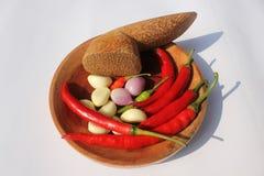 Chili, чеснок, и луки Стоковые Изображения