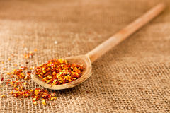 Chili. Spoon of chili flakes on hessian Royalty Free Stock Photo