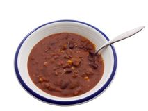 Chili. Bowl of chili isolated on white Stock Photography