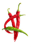 Chili. Ripe, red and green chilis isolated on a white background stock photos
