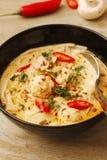Пряный суп шарика рыб с молоком и chili кокоса стоковые изображения