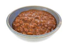 Chili With Beans In Bowl sidosikt royaltyfri fotografi