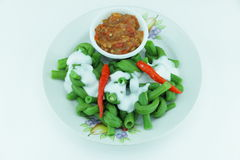 Chili beans cooked and fresh coconut milk. Stock Images