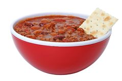 Chili with Beans and Cracker stock photography
