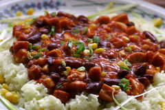 Chili beans on a plate. A portion of chili beans served on a big plate Stock Photos