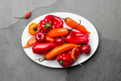 Chili and bell pepper on white plate, slate background, top view.  Stock Photo