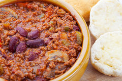 Chili and Biscuits Royalty Free Stock Photos