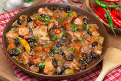 Chili with black beans and chicken, top view Stock Image
