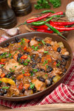 Chili with black beans, chicken and vegetables Stock Photos