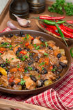 Chili with black beans, chicken and vegetables, vertical Royalty Free Stock Images
