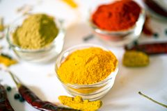 Chili Coriander Turmeric. Chili in Bowl isolated Chili Powder Chili Coriander Turmeric Royalty Free Stock Photography