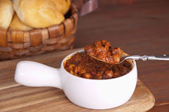 Chili bowl with spoon Stock Images