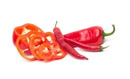 Chili and bulgarina pepper isolated Stock Photo