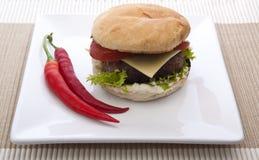Chili burger Stock Images