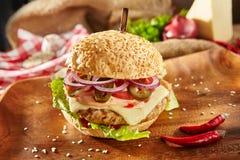 Chili Burger piccante delizioso immagini stock libere da diritti