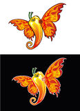 Chili-butterfly. Pepper-chili-butterfly-flame. graphics Royalty Free Stock Image