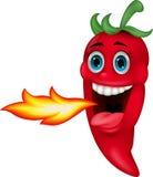 Chili Cartoon Character Breathing Fire Royalty Free Stock Photos