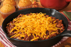 Chili in a cast iron skillet Royalty Free Stock Image