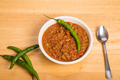 Chili with Cayenne and Pepper in Bowl Stock Image