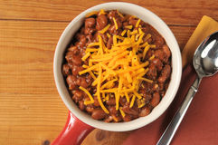 Chili with cheddar cheese Stock Images