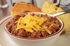 Chili with cheese closeup Royalty Free Stock Images