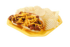 Chili cheese dog and chips Stock Image