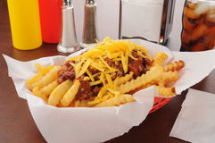 Chili cheese fries Royalty Free Stock Images