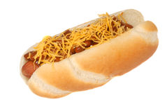 Chili cheese hot dog Royalty Free Stock Image