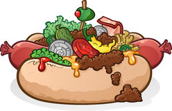 Chili Cheese Hot Dog With Toppings Cartoon Stock Photo