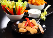 Chili cheese nuggets with raw vegetable Stock Photo