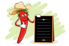 Chili Chef with Menu Board Royalty Free Stock Photo