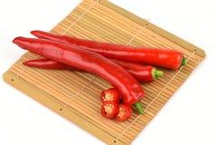 Chili, Chili Pepper, Red Chillies on white background. Stock Photo