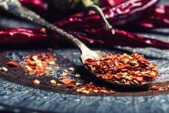 Chili Chili Peppers Flera torkade chilipeppar och krossade peppar på en gammal sked spillde omkring mexikanska ingredienser Royaltyfri Foto