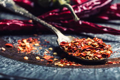 Chili. Chili peppers. Several dried chilli peppers and crushed peppers on an old spoon spilled around. Mexican ingredients Royalty Free Stock Photo