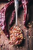 Chili. Chili peppers. Several dried chilli peppers and crushed peppers on an old spoon spilled around. Mexican ingredients Stock Image