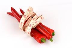 Chili, Chili pieprz, Czerwoni Chillies na białym tle Obraz Royalty Free