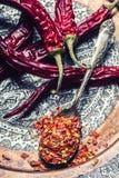 Chili Chili pieprze Kilka wysuszeni chili pieprze i miażdżący pieprze na starej łyżce rozlewali wokoło składniki meksykańscy Obraz Royalty Free