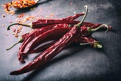 Chili Chili pieprze Kilka wysuszeni chili pieprze i miażdżący pieprze na starej łyżce rozlewali wokoło składniki meksykańscy Obrazy Stock