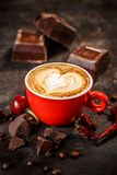 Chili and chocolate flavored coffee royalty free stock image