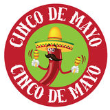 Значок chili Cinco De Mayo круглый Стоковые Изображения