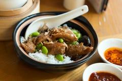 Chili claypot kurczaka ryż obrazy royalty free